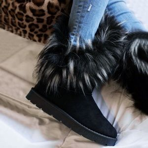 Fuzzy Faux Fur Mid Calf Snow Boot